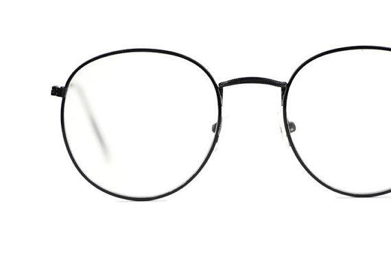 Schwarz Brille vintage Round Metal Frame Retro von ClassicalSense