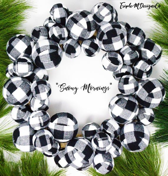 Buffalo Check Plaid Ball Wreath Christmas Black White 20 Inch Etsy Ball Wreath Christmas Tree Spray Buffalo Check Plaid
