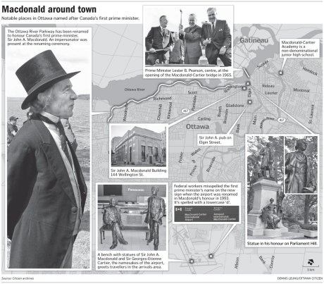Graphic: Places and things in Ottawa named after Sir John A. Macdonald