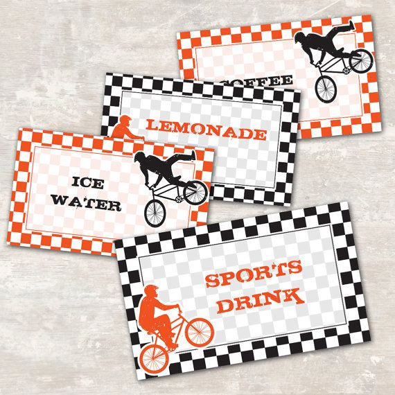 Bmx Dirt Bike Birthday Party Jar Labels set of 8 by paperandcake, $8.95