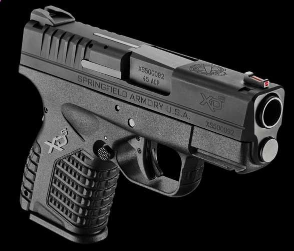 Springfield XDS .45 ACP - 1 wide frame, single stack mag. This is the one Jeremy wants next. Hmm.