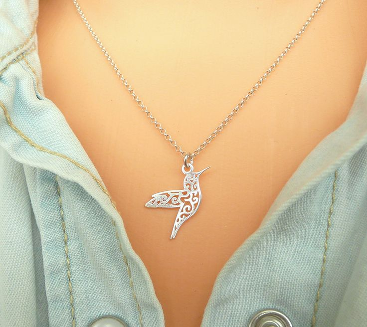 A personal favorite from my Etsy shop https://www.etsy.com/listing/538346796/sterling-silver-hummingbird-necklace