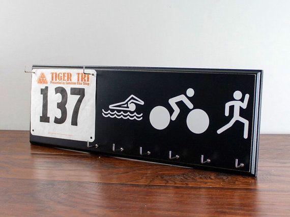 Triathlon Medals Holder Swim Bike Run by StrutYourStuffSignCo