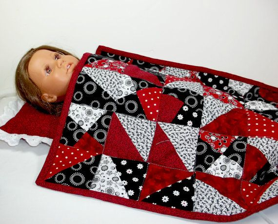 SALE  18 inch Doll Patchwork Quilt and Pillow by snowflakeboutique