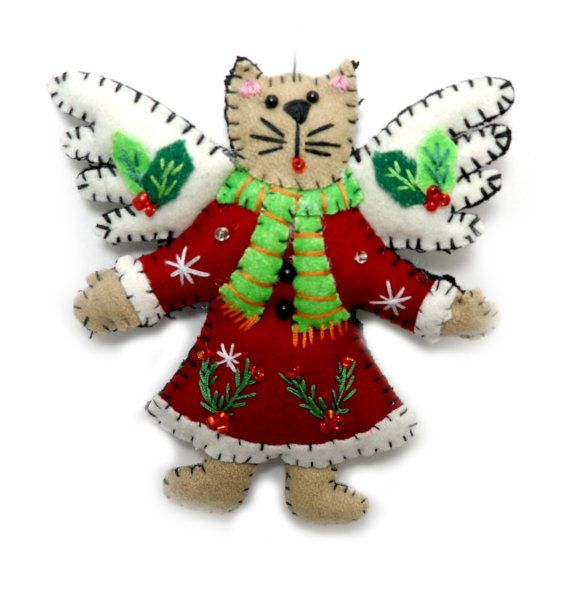 Cream Kitty Cat Angel Flying Christmas Wool Felt Applique Ornament with Red Coat