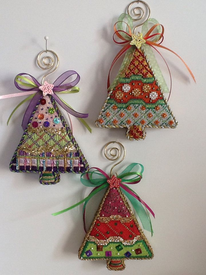A Collection of Designs (now Burnett & Bradley) little Sassy Trees needlepoint stitched by the great staff at Luv 2 Stitch in San Meteo, Ca.