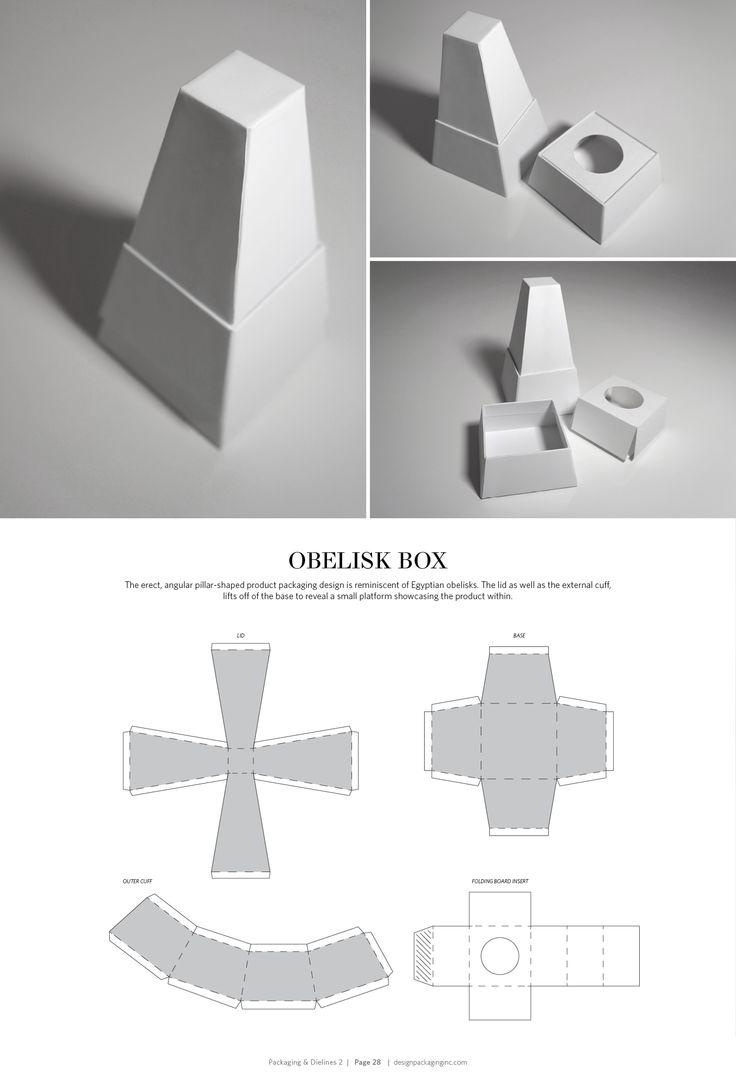 Obelisk Box – structural packaging design dielines