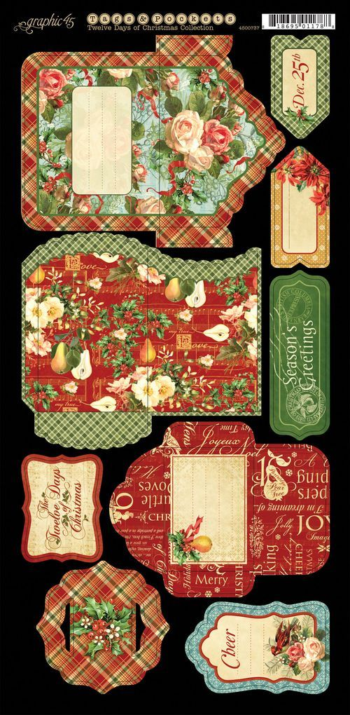 The Twelve Days of Christmas Cardstock Tags & Pockets 1 #graphic45 #newcollection #sneakpeeks