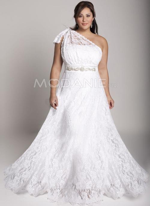épaule asymétrique dentelle robe de mariée grande taille [#M1507247166] - modanie