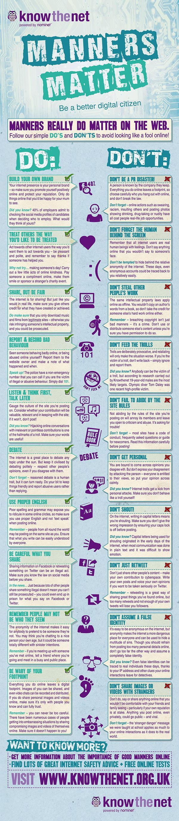 tips and pieces of advice on how to develop good manners online. Look at it as a code of online ethics to recommend not only to your students but to your kids as well. You can also print it and hang it on your classroom wall to constantly remind students of what is expected from them while using the world wide web
