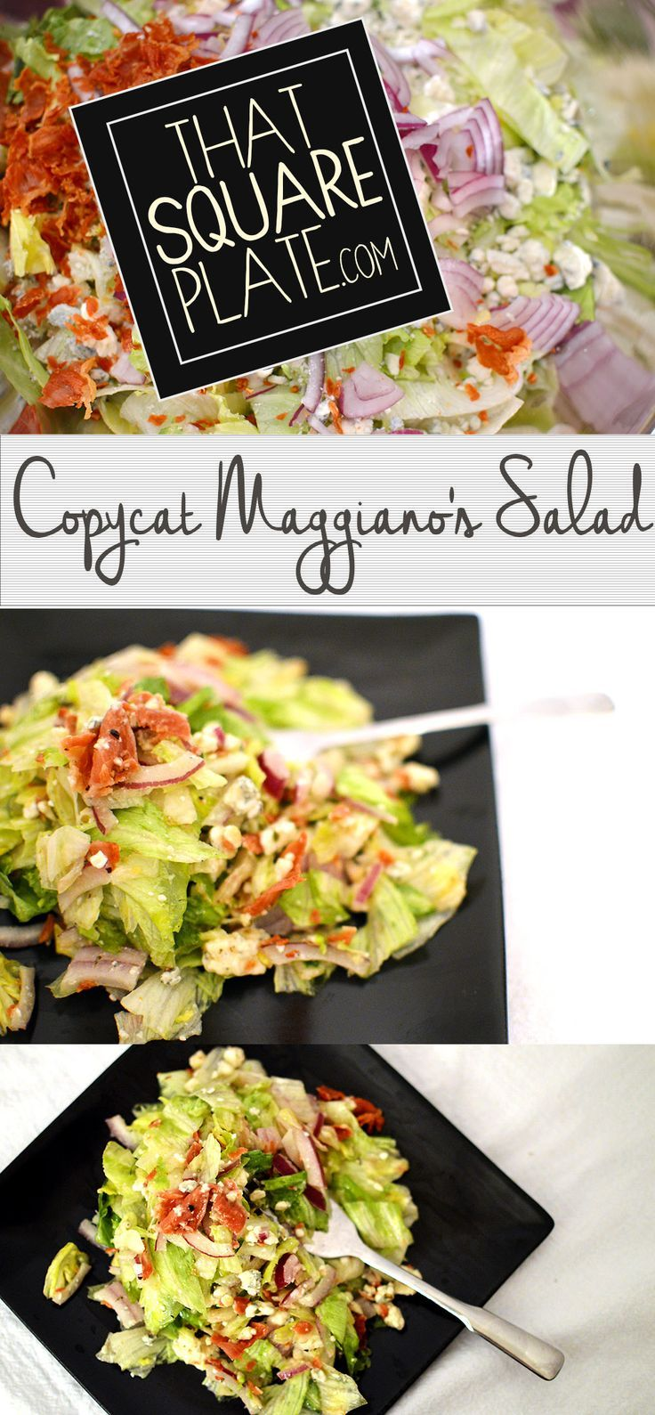 Inspired from joyineveryseason.com, this copycat Maggiano's salad combines salty prosciutto, gorgonzola cheese, red onion, chopped lettuce and homemade Italian dressing. It's everything that makes you happy! From thatsquareplate.com.