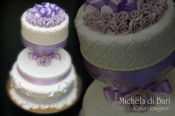 Wedding cake bianca e lilla ♥