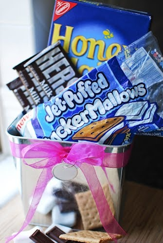Ideas and Tips from Pirate Princess -  s'mores gift basket