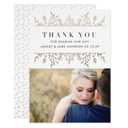 Elegant Rose Gold Photo Wedding Thank You Card - rose style gifts diy customize special roses flowers