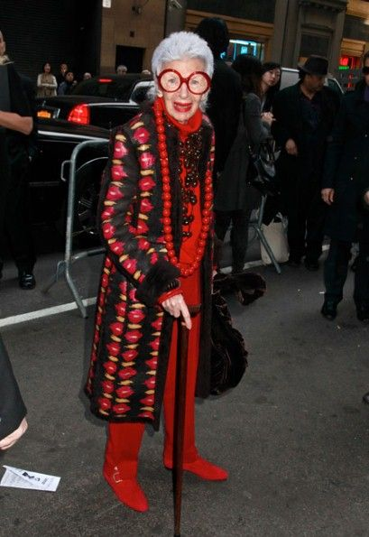Iris Apfel. I want that coat!! ...check out the shoes which match perfectly...
