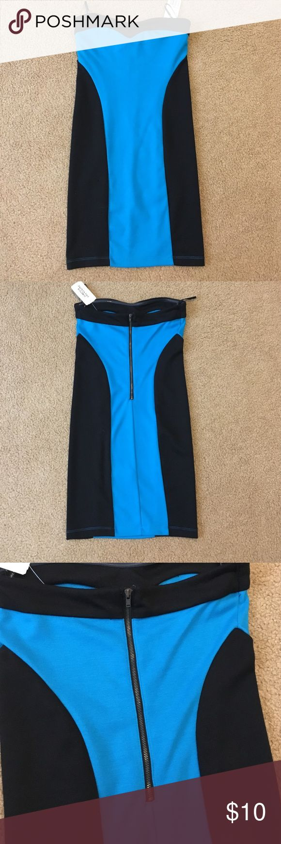 Forever 21 night-out dress (small) Black/blue strapless dress from Forever 21. Perfect for parties and girls-night-outs! Size small. New with tags. Forever 21 Dresses Strapless