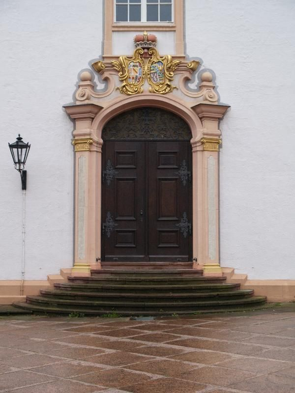 Ettlingen, Germany: Schloss (Castle): side entrance (baroque, 1728-1732, master builder Johann Michael Ludwig Rohrer; restored 1978)