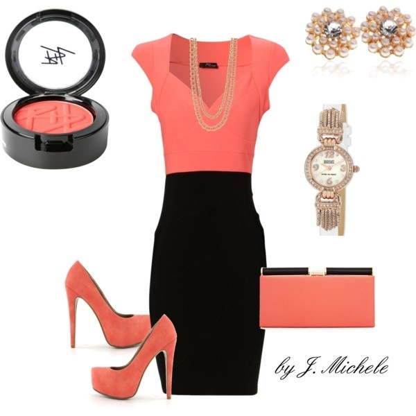 Pinch of Pink: Fashion, Style, Color Combos, Dress, Classy Coral, Classy Absolutely, Work Outfits, Black Love, Coral Color