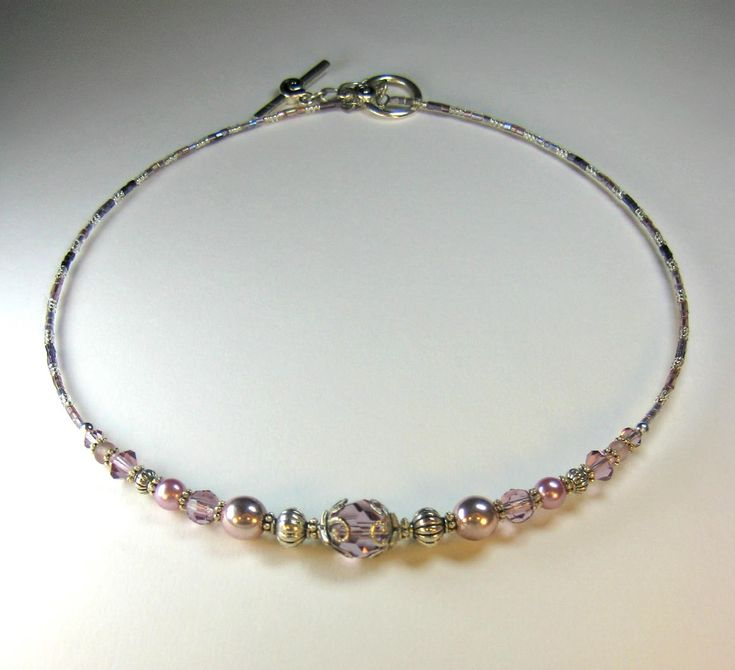 Baby Pink Mauve Lilac Metallic Pearl and Swarovski Crystal Antique Tibetan Silver Effect Bead Collar Necklace