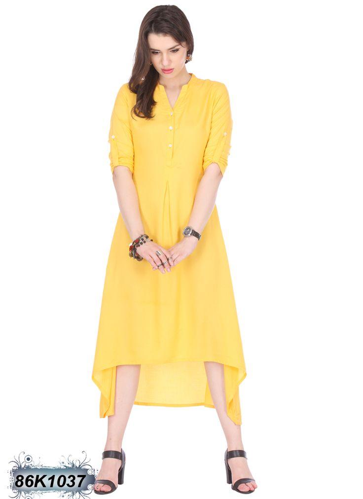 Dynamic Yellow Coloured Rayon Kurti