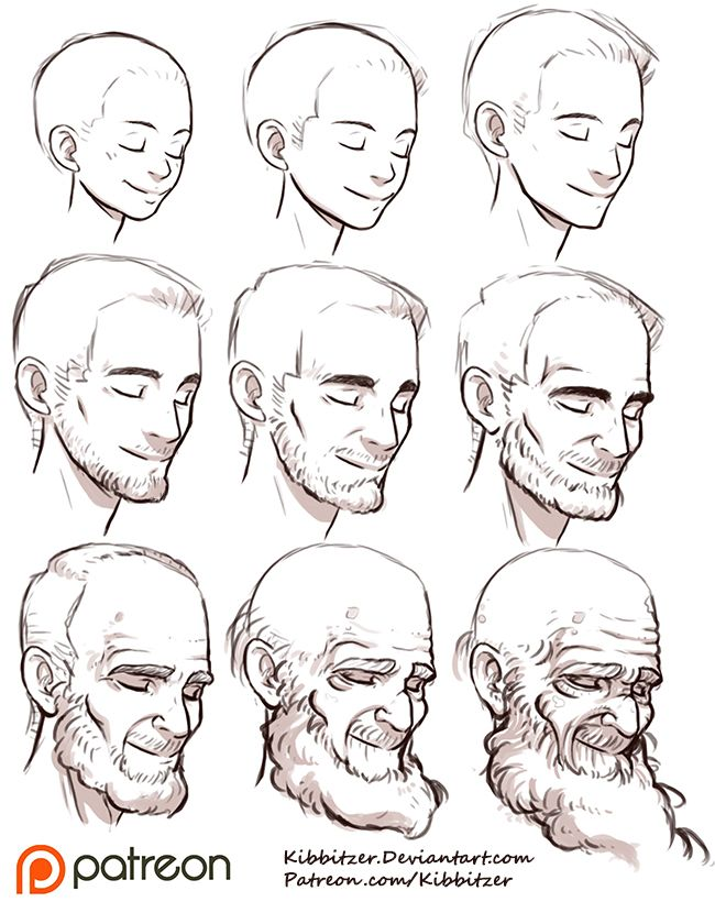 "Practice aging your characters with Kibbitzer's helpful reference sheet! kibbi: ""Aging Reference Sheet by *Kibbitzer You should try this exercise! Start from the middle-aged man! it's easier! it's..."