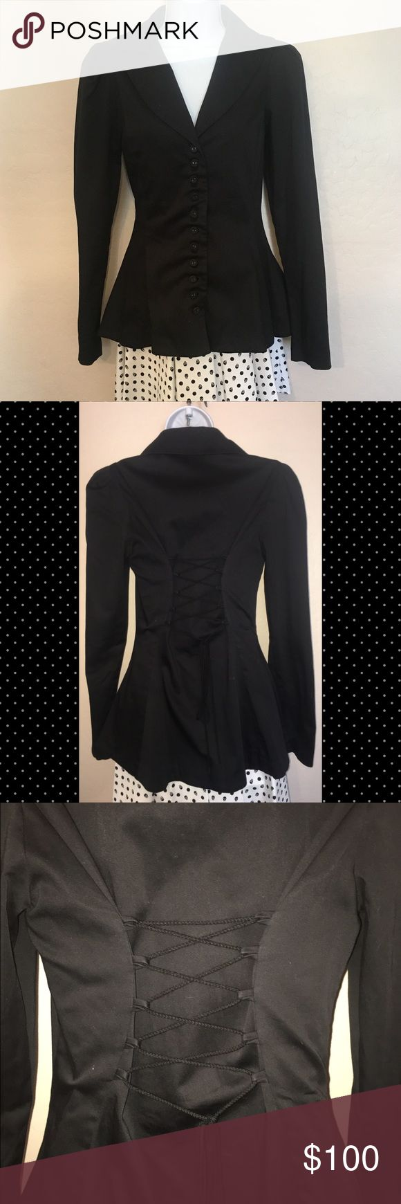 Betsey Johnson Black Blazer This super adorable jacket by Betsey Johnson has 10 buttons down the front, corset backing that will fit a variety of sizes. Great to match with a dress for the evening, casual, or even the office! 97% cotton, 3% spandex. Dry clean only. Bust: 32-36 Waist: 30-32 Betsey Johnson Jackets & Coats Blazers