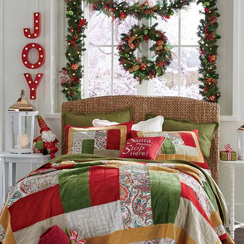 This is the time of year for that spare guest room to shine. Welcome guests by adding a Christmas quilt to the guest bed and decorative Christmas shower curtains in the guest bath. A gorgeous holiday garland vining around a headboard or along a windowsill sets a festive mood.