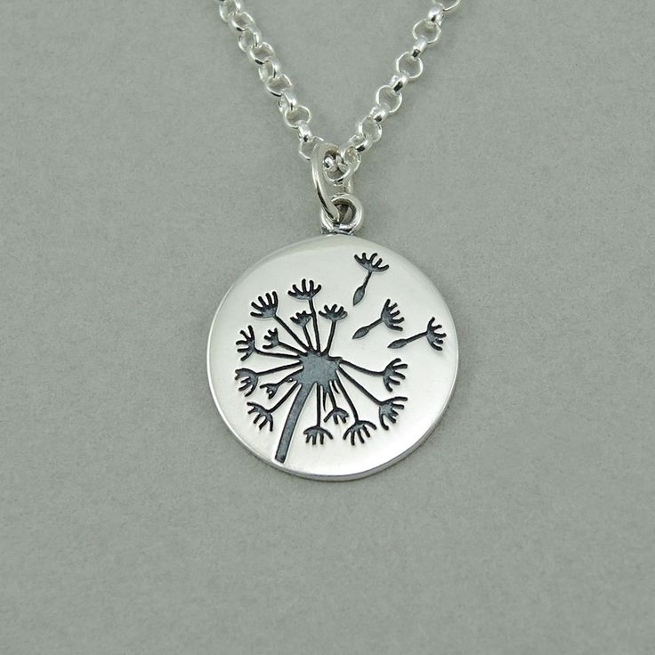 Dandelion Necklace - sterling silver womens jewelry, flower, dandelion jewelry, gift
