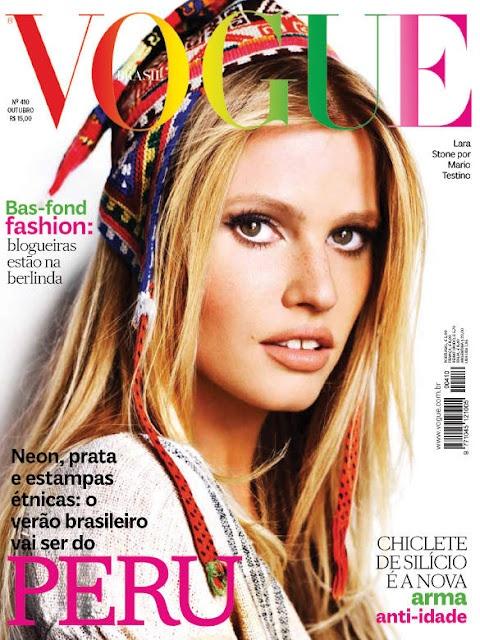 Lara Stone na capa da Vogue Brasil de outubro por Mario Testino