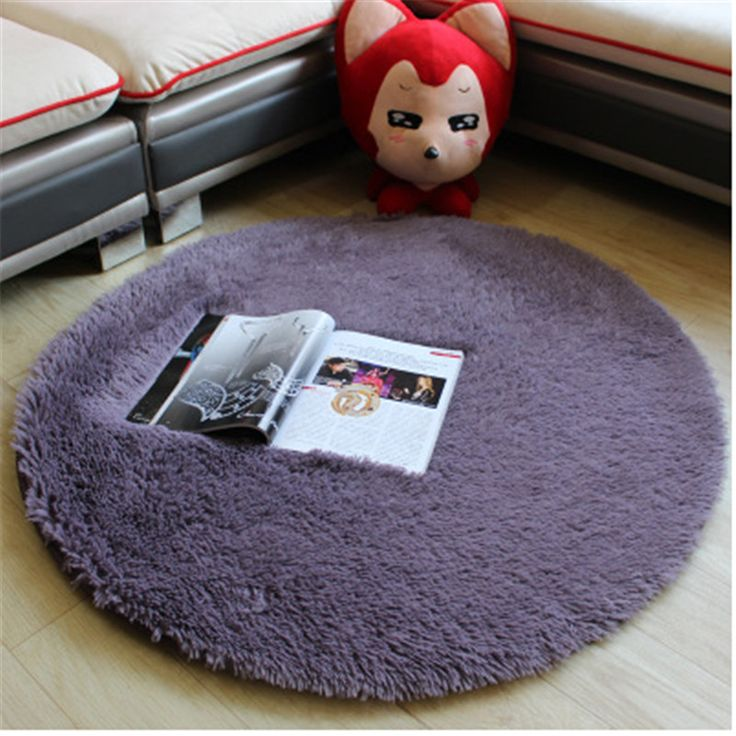 Plush Shaggy Soft Round Carpet Area Rugs Non-slip Floor Mats for Kids Living Room Home Decorative Rugs White Seat Pad B32