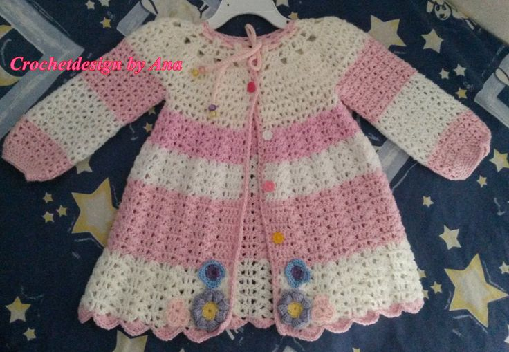 Candy crochet jacket for 2 year girl