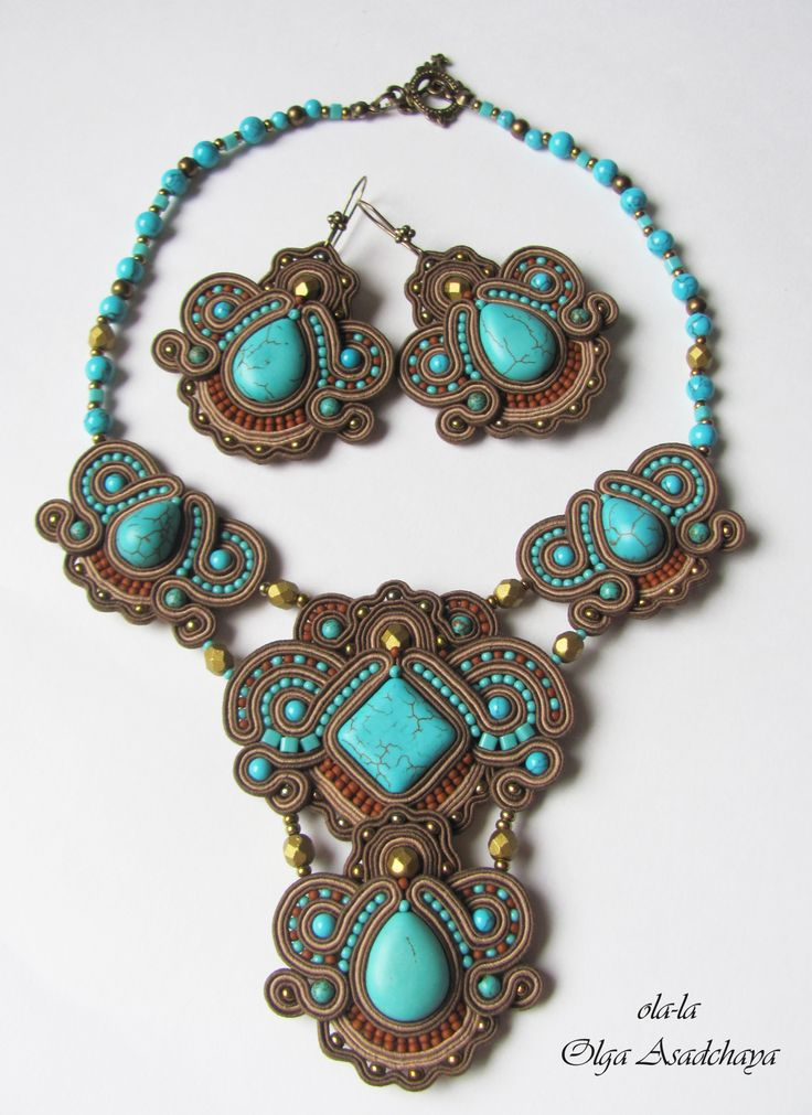 "clutch bag, necklace and earrings ""Wilderness lake"" soutache, turquoise, howlite, glass beads, beads, natures. Italian leather, leather with fur (Italy)"