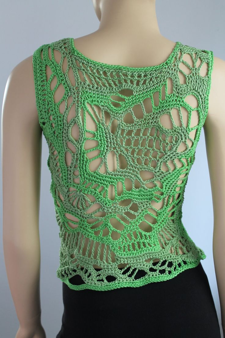 Spring Grass - Cotton Freeform Crochet Tank - Top- Summer - one of a kind