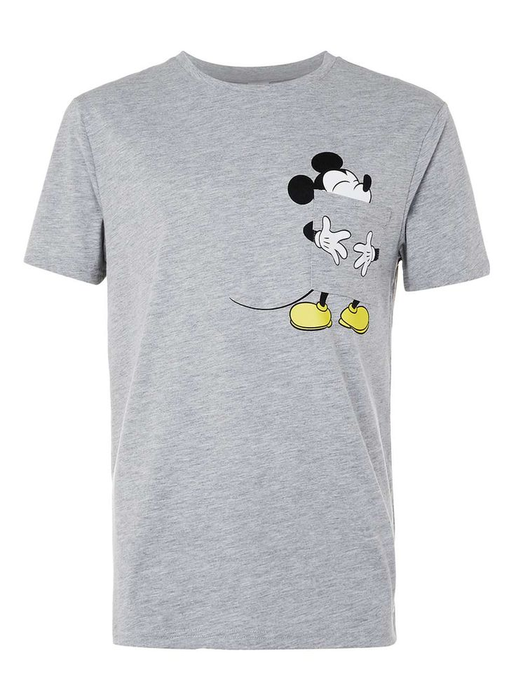 Grey Marl Mickey Mouse Tongue Print T-Shirt - TOPMAN