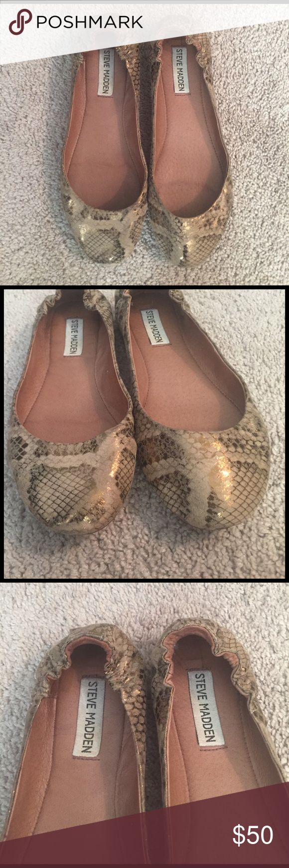 Gold Foil Snake Print Steve Madden Flats Size 8 Gold Foil Snake Print Steve Madden Flats Size 8. Used but still in good condition. Perfect to dress up any casual look! Please feel feee to ask any questions! Steve Madden Shoes Flats & Loafers