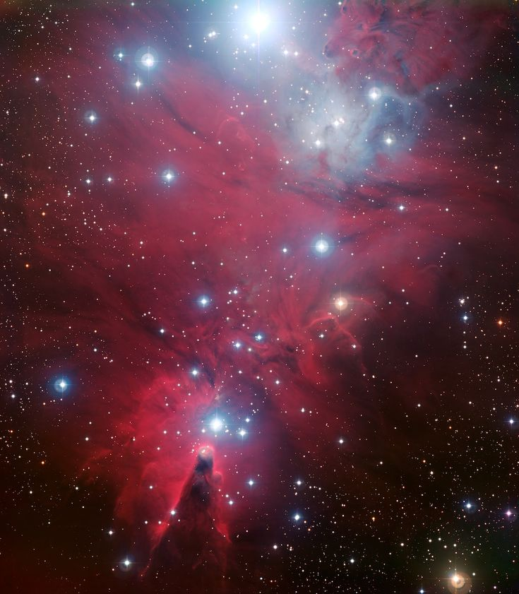 This colour image of the region known as NGC 2264 — an area of sky that includes the sparkling blue baubles of the Christmas Tree star cluster and the Cone Nebula — was created from data taken through four different filters (B, V, R and H-alpha) with the Wide Field Imager at ESO's La Silla Observatory, 2400 m high in the Atacama Desert of Chile in the foothills of the Andes. The image shows a region of space about 30 light-years across.