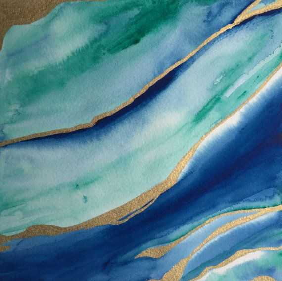 Original watercolor agate painting