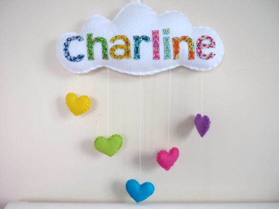 Rainbow Cloud - Personalized Baby Mobile, Wall Hanging, Door Sign - 7 or more letters on Etsy, $39.00