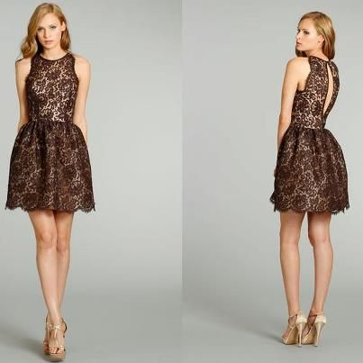 brown lace bridesmaid dress (super short on model, normal on a normal person?)