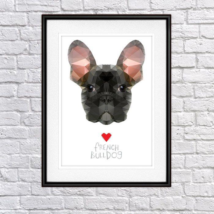 Geo Cubistic French Bulldog Digital Poster Print, Wall Decor by PSIAKREW on Etsy