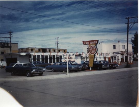 Jiffy Car Wash on Gaetz Avenue on the South Hill, just north of the Capri Centre. c. 1975.