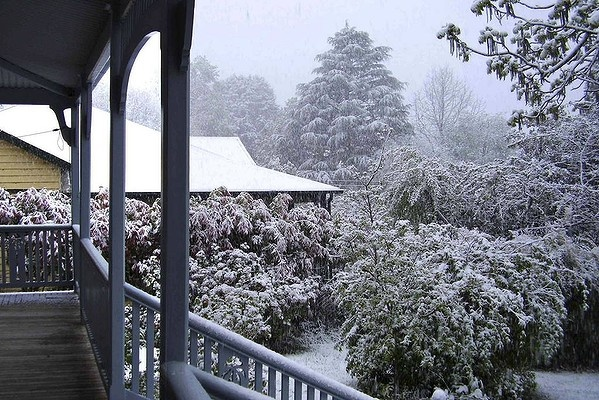 Snow in Leura in the Blue Mountains, 2 hours west of Sydney. Not normal in winter, less normal in Spring in October 2012.
