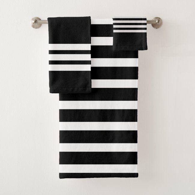 Black And White Stripes Bathroom Bath Towel Set Zazzle Com Striped Bath Towels Green Bath Towels Towel Set