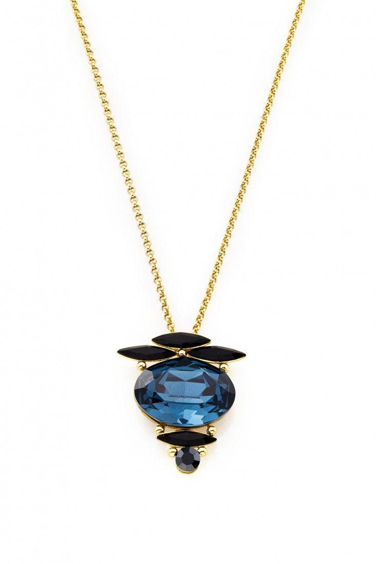 Elegancki naszyjnik Montana pozłacany 24-karatowym złotem i ozdabiany kryształami Swarovski Crystals w błękicie i wyrazistej czerni.