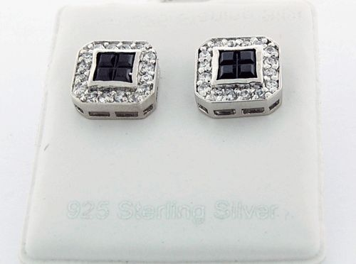 Black and White CZ Earrings