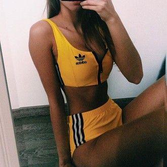 shorts adidas set two-piece matching set yellow rihanna beyonce urban black girls killin it fashion vibe stylish adidas originals crop tops crop