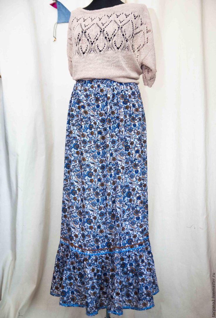 Купить Юбка штапельная Клавдия - цветочный, юбка, длинная юбка, болшой размер, юбка с воланами
