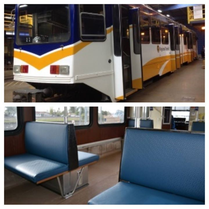 Sacramento Regional Transit District - Light rail car 107 recently received a makeover. What do you think of the fresh exterior and new vinyl seats?