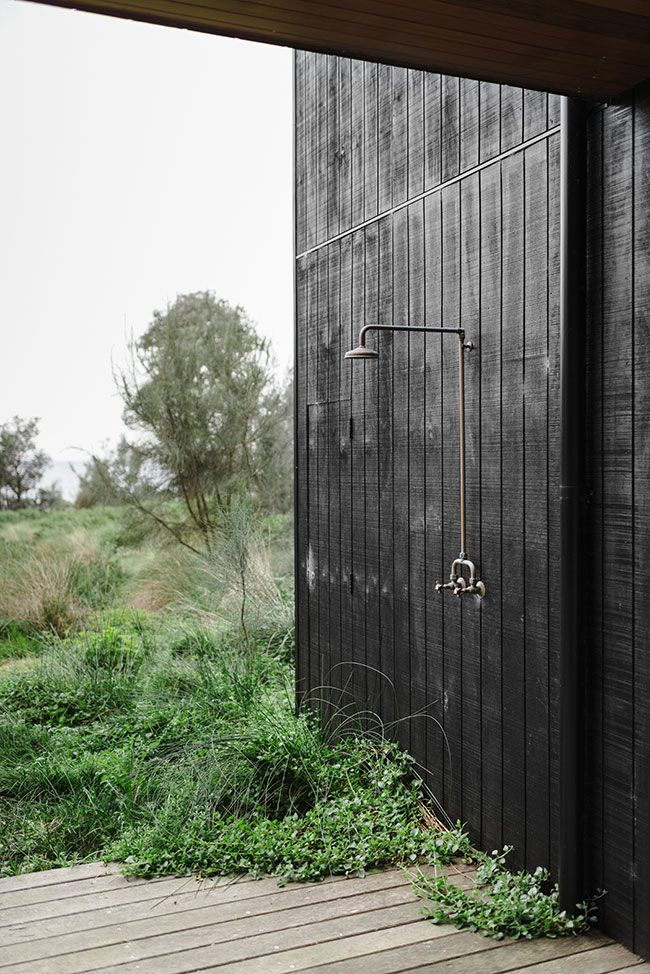 Outdoor shower in all black