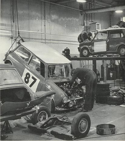 Just hanging about for it's turn . Special Tuning workshop , getting ready for the 1966 Monte Carlo rally .